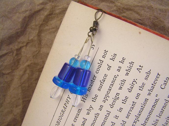 Cobalt Blue glass earrings in retro 80's style