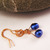 Freshwater Blue Pearl earrings with copper wire wrap