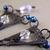 Crystal Chandelier earrings in blue and black