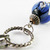 Vintage blue bead bracelet on a welded link silvertone chain