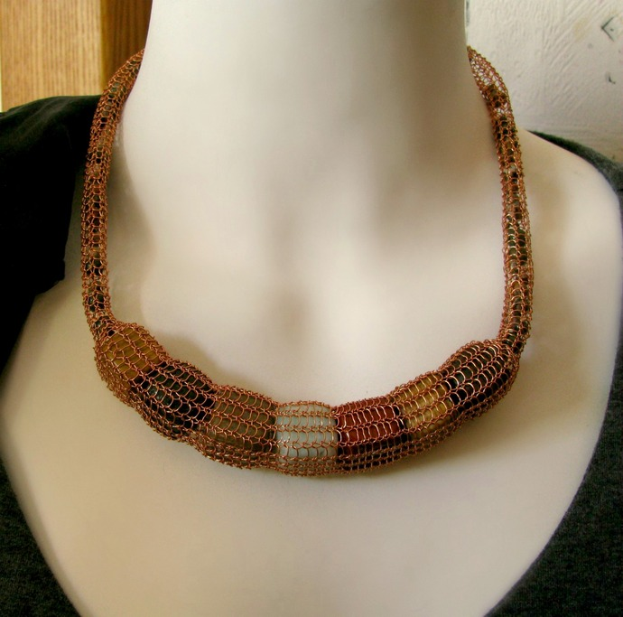 Wire knit rope necklace with semiprecious rock cube filling