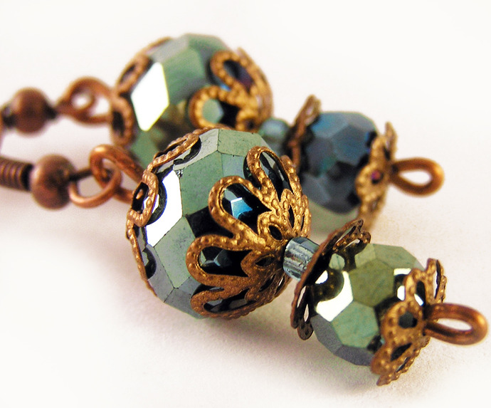 Parrot green faceted glass dangle earrings