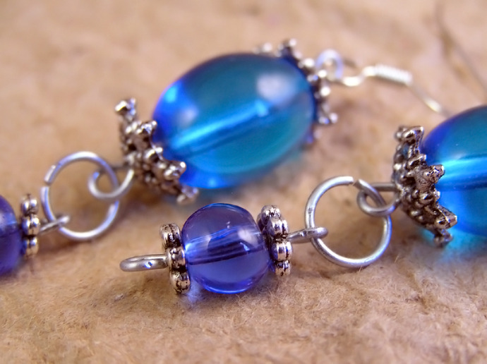 Blue glass earrings with antiqued silvertone beadcaps
