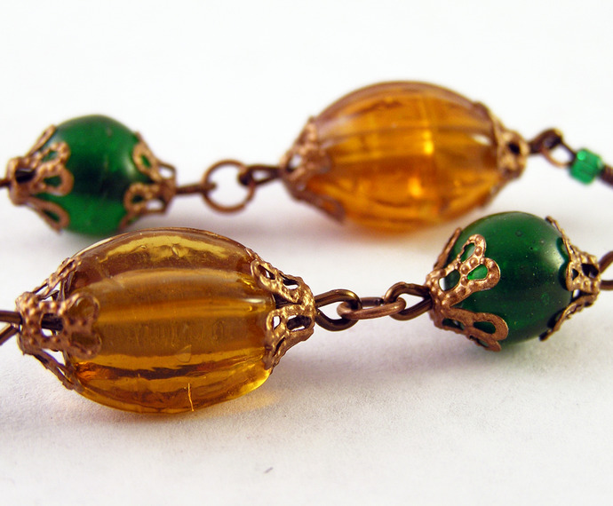 Green and Yellow glass earrings with copper beadcaps