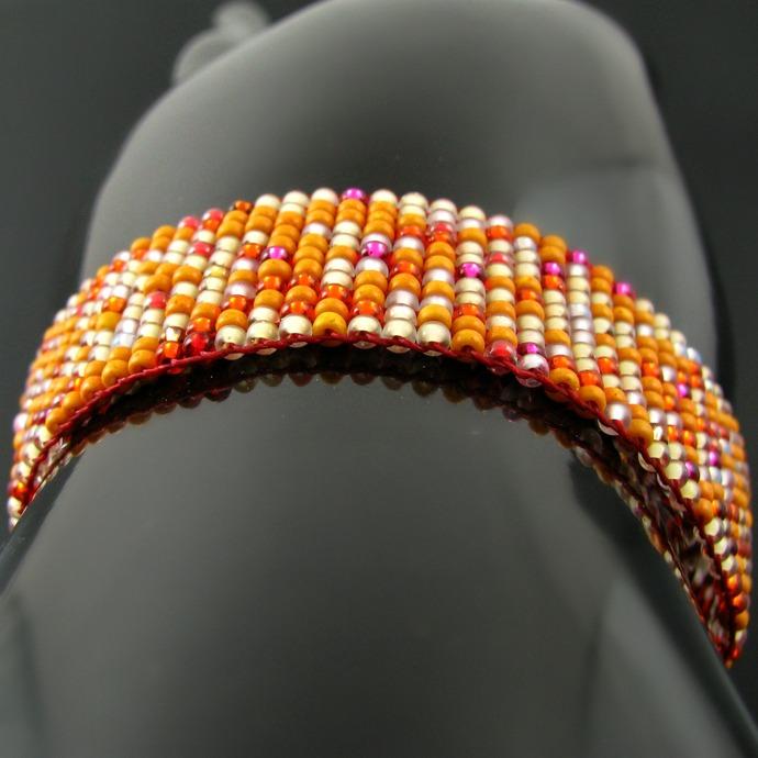 Slim bead loomed snap and wrap pumpkin bead soup bracelet