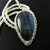 Fine silver wire crochet rope necklace with labradorite drop pendant