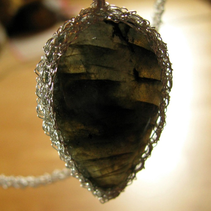 Fine silver wire crochet rope necklace with labradorite drop pendant