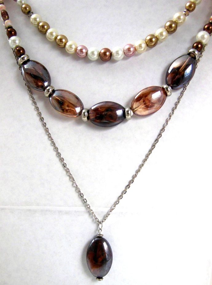 Simple Brown Oval Acrylic Bead Pendant Necklace - Handmade - Chain Included