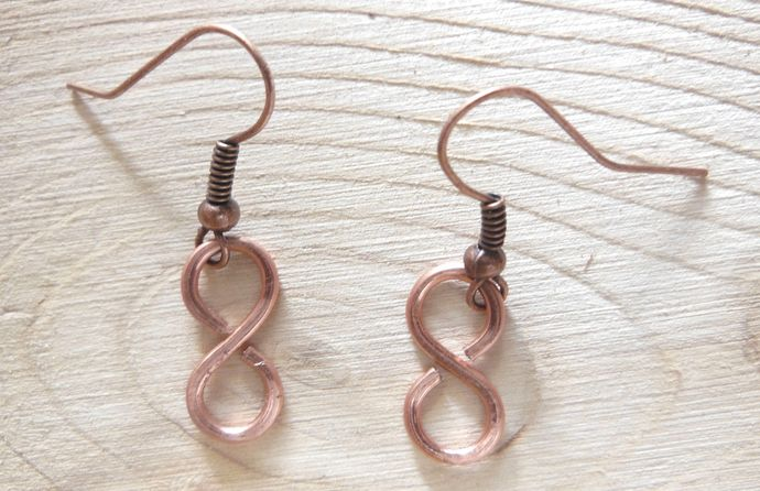 Handmade Copper Wire Earrings - Figure Eight - Infinity Symbol - Simple Dangle
