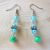Handmade Aqua Blue and Green Beaded Dangle Earrings - Teal, Turquoise Blue,