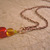 Rainbow colors glass bead necklace with copper chain