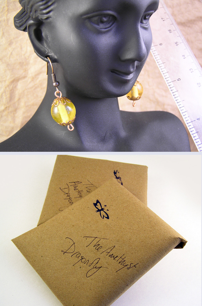 Yellow glass and copper earrings with filigree beadcaps
