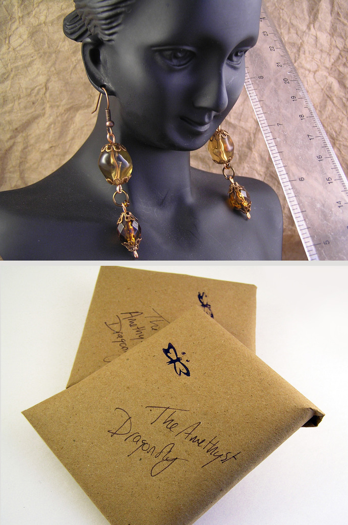 Amber dangle earrings with floral copper beadcaps