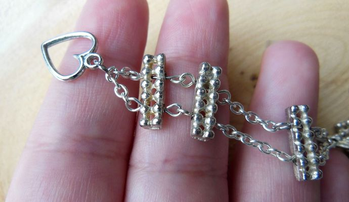 Handmade Silver-Colored Steel Chain Bracelet with Spacer Beads - Made to Order