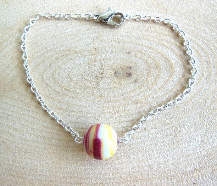 Handmade Fiery Glass Marble Bead Chain Bracelet