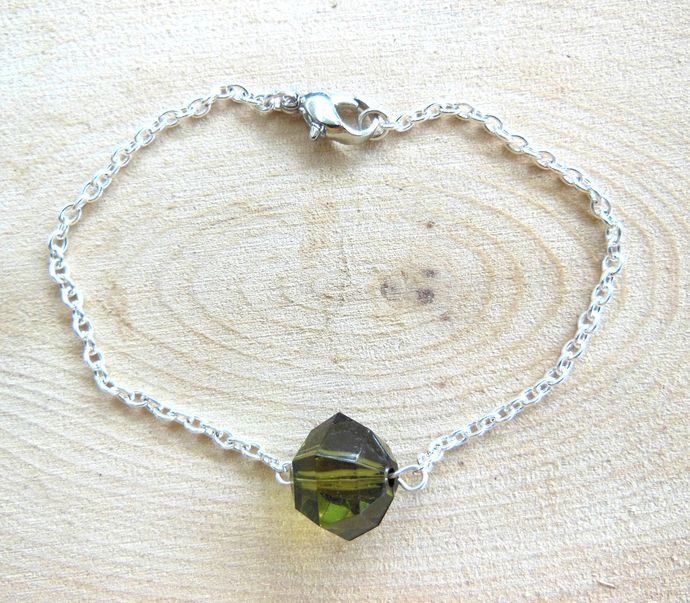 Handmade Faux Crystal Bead Chain Bracelet - Olive Green, Earthy Mossy Green -