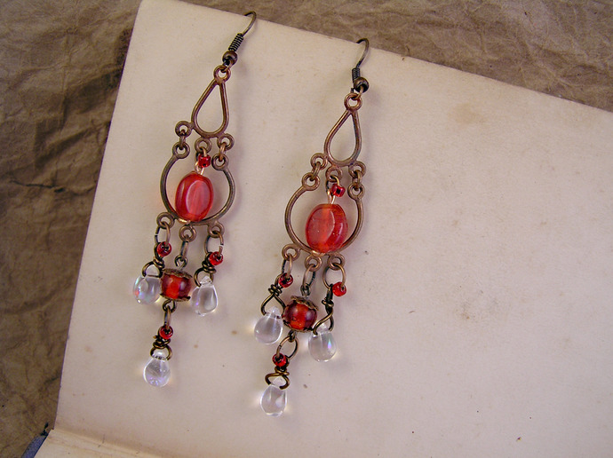 Red glass Chandelier earrings with aged copper