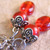 Red glass bead earrings with antiqued silvertone beadcaps
