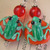 Green lampwork  frog bead earrings in red and green