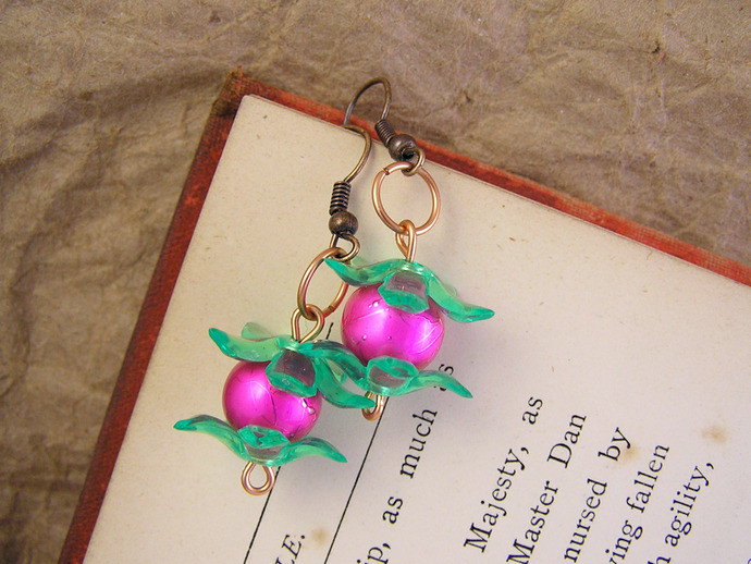 Pink  Pearl earrings with lime flower beadcaps in a Retro 80s style