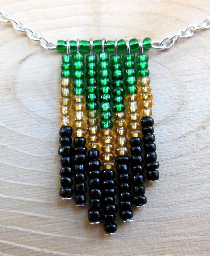 Green, Gold, and Black Beaded Chevron Necklace on Silver Steel Chain - V Shaped