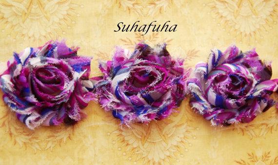 1/2 yd f Shabby Chiffon Frayed Rose Flower Trim in Purple Rainbow- 7 Flowers