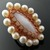 Wire knit ring with mother of pearl and freshwater pearls