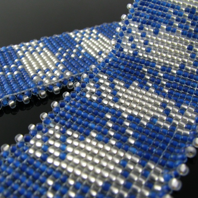 Bead loomed fabric pattern cuff - Blue and silver Gingham