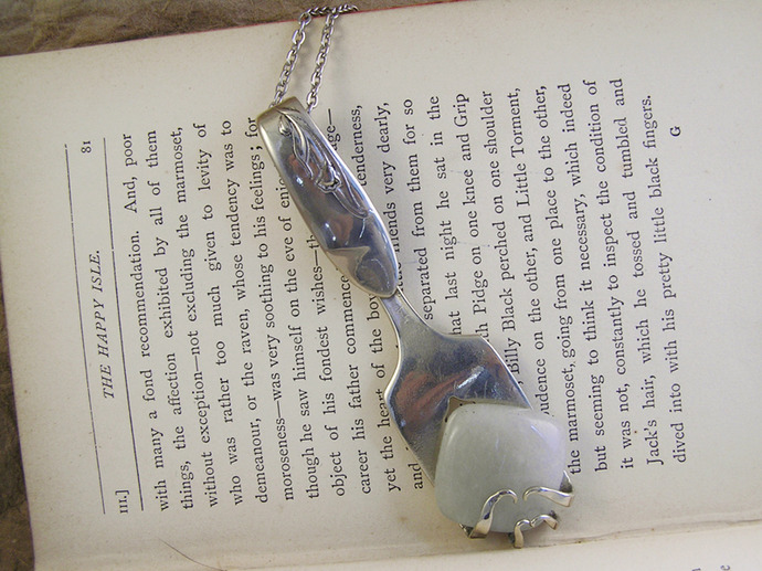 Vintage Fork Agate Necklace upcycled from silver fork with lily flower detail