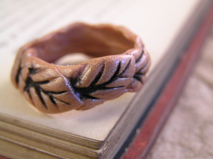 Clay leaf ring. made to order. Choose your finish, gold, silver, or copper