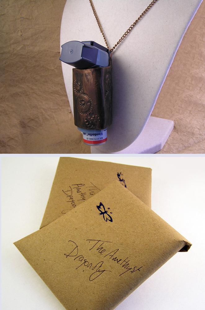 Steampunk triangular inhaler keychain or pendant for non-round style inhalers