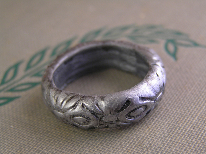 Embossed Clay ring, handmade to order