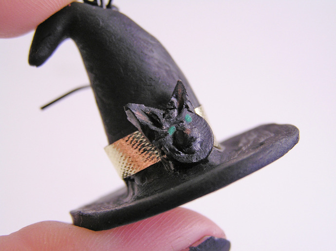 Witches broom and hat earrings for Halloween