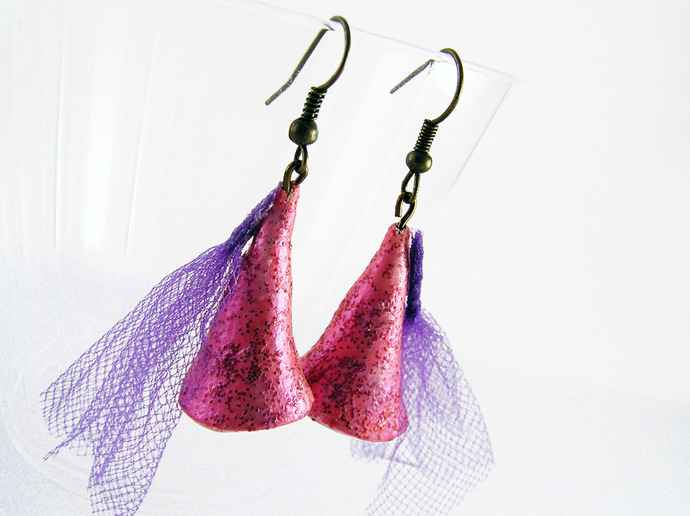 Princess hat earrings in pink with red glitter and purple tulle
