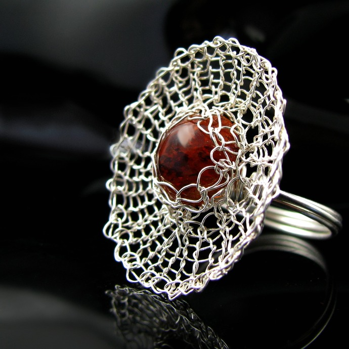 Fine silver wire knit ring with faux amber - Spider web