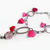 Valentine sweet heart bracelet with tiny handmade heart charms and pink beads on