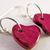 Valentine Heart charm earrings in hot pink