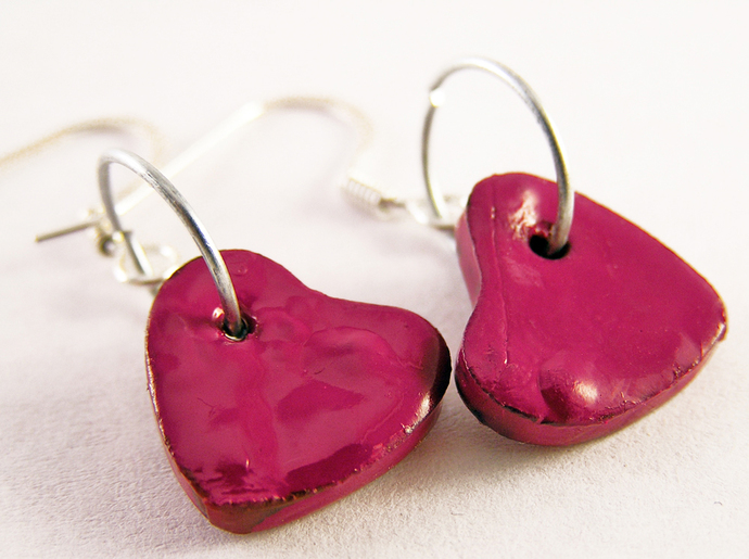 Valentine Heart charm earrings in cherry red