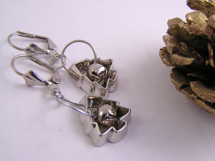 Christmas trees Cookie cutter ornament earrings with silver jingle bells