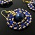 Beaded blue and gold set of earrings and necklace