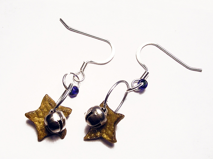 Christmas Star and Bell earrings with color bead choice