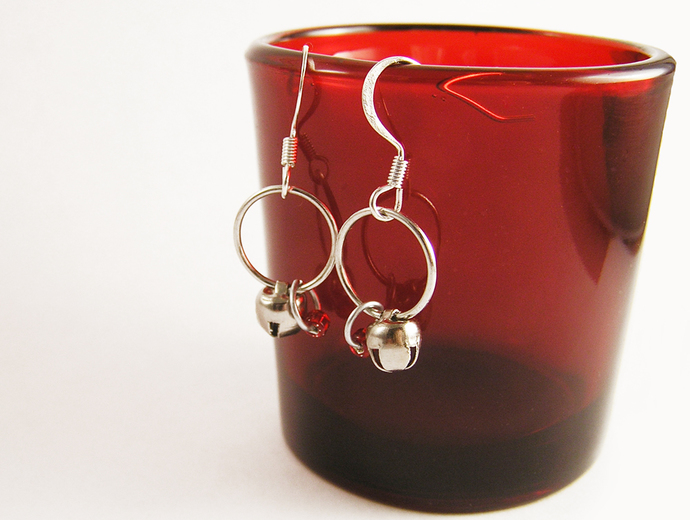 Silver bells Christmas Hoop earrings with color bead choice