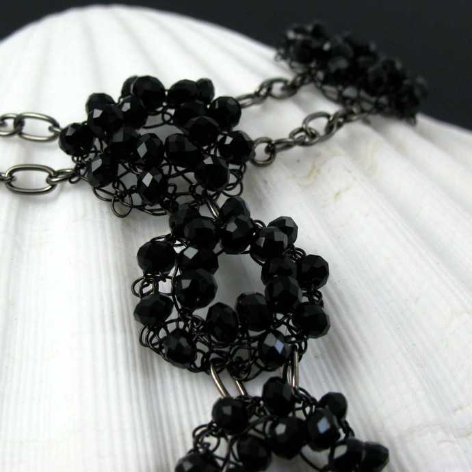 Black wire knit flowers necklace - Crystal blossoms