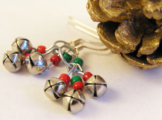 Jingle bell earrings  with red and green beads on silver wire