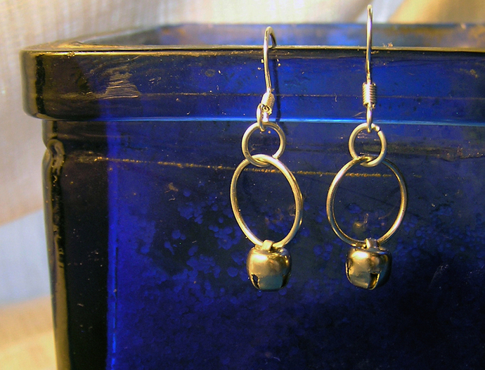 Silver Jingle Bell hoop Christmas earrings