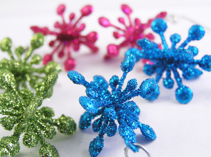 Blue holiday Christmas star earrings