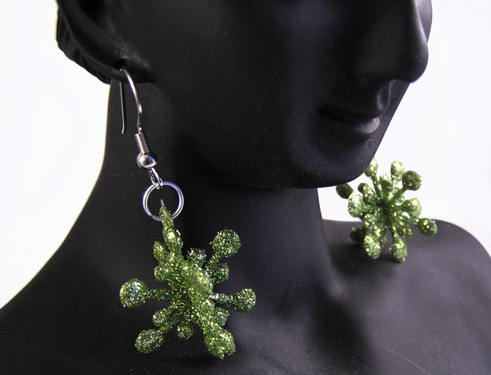 Green Christmas star holiday earrings