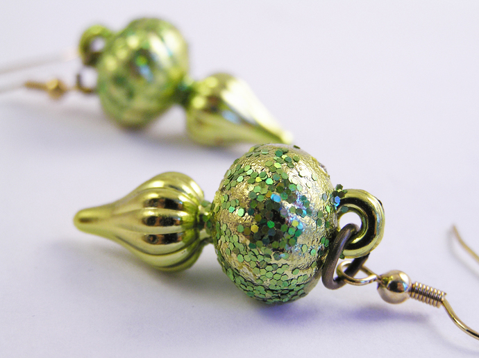 Green glitter Christmas ornament earrings
