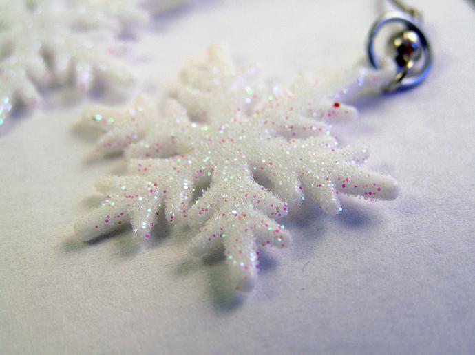 White snowflake Christmas earrings