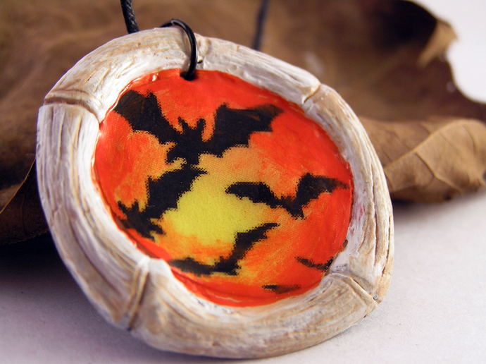 Bats Halloween pendant with aged bones frame